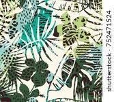 trendy seamless exotic pattern... | Shutterstock .eps vector #752471524