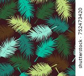 seamless exotic pattern with... | Shutterstock .eps vector #752473420
