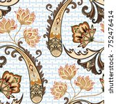 seamless pattern with paisley ... | Shutterstock .eps vector #752476414