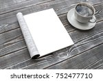 mock up magazine on the wooden... | Shutterstock . vector #752477710