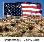 american soldiers saluting us... | Shutterstock . vector #752478886