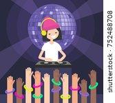 a dj wearing headphones and... | Shutterstock .eps vector #752488708