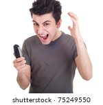 angry young man yelling at... | Shutterstock . vector #75249550