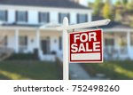 home for sale real estate sign... | Shutterstock . vector #752498260