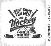 hockey retro emblem for team or ... | Shutterstock .eps vector #752503534