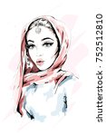 beautiful muslim woman wearing... | Shutterstock .eps vector #752512810