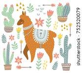 alpaca and cacti | Shutterstock .eps vector #752520079