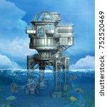 steampunk oil plant in a... | Shutterstock . vector #752520469