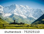 view of ushguli village and... | Shutterstock . vector #752525110