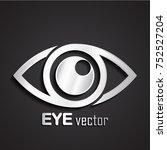 3d silver metal eye logo | Shutterstock .eps vector #752527204