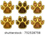 dog paw 2018 of new year. set... | Shutterstock .eps vector #752528758