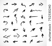 hand drawn arrows  vector set | Shutterstock .eps vector #752530240