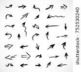 hand drawn arrows  vector set | Shutterstock .eps vector #752530240