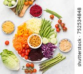 healthy eating  top view of... | Shutterstock . vector #752534848