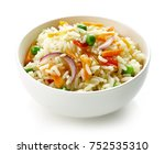 bowl of boiled rice with... | Shutterstock . vector #752535310