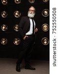 pensive man in fashion glasses...   Shutterstock . vector #752550508
