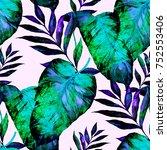 watercolor seamless pattern... | Shutterstock . vector #752553406