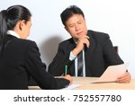 business boss manager looking... | Shutterstock . vector #752557780