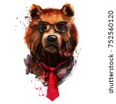 hipster portrait fine art bear. ... | Shutterstock . vector #752560120