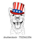 a smiling dog  in old american... | Shutterstock .eps vector #752561356