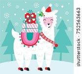 cute christmas llama  | Shutterstock .eps vector #752563663