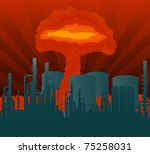 Atomic explosion cloud formed mushroom over nuclear power plant illustration - stock vector