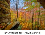 Fall Foliage from Crack in the Rocks - Big South Fork National River and Recreation Area, KY