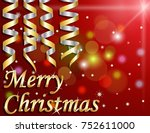 merry christmas on red... | Shutterstock .eps vector #752611000