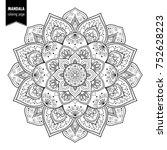 monochrome ethnic mandala... | Shutterstock .eps vector #752628223