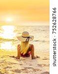 woman in swiming suit posing on ... | Shutterstock . vector #752628766