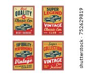 set of colored old retro style... | Shutterstock .eps vector #752629819