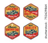 set of colored old retro style... | Shutterstock .eps vector #752629864