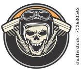 biker skull design wearing a... | Shutterstock .eps vector #752630563