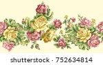 seamless rose flower border | Shutterstock . vector #752634814