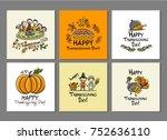 thanksgiving day  art cards for ... | Shutterstock .eps vector #752636110