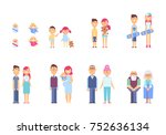 people generations in a flat... | Shutterstock .eps vector #752636134