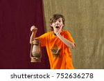 surprised young actor holds... | Shutterstock . vector #752636278