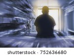 man sitting on the hospital bed ... | Shutterstock . vector #752636680