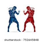 muay thai  thai boxing standing ... | Shutterstock .eps vector #752645848