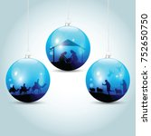 christmas balls with nativity... | Shutterstock .eps vector #752650750