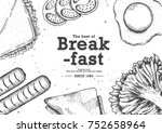 breakfast with top view use by... | Shutterstock .eps vector #752658964