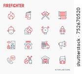 firefighter thin line icons set ... | Shutterstock .eps vector #752670520