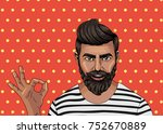 hipster man with beards smile.... | Shutterstock .eps vector #752670889