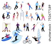 active leisure people icons set ... | Shutterstock . vector #752677189