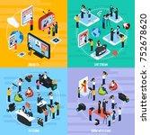 media network isometric... | Shutterstock . vector #752678620