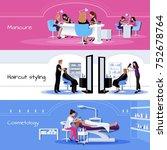 beauty salon service horizontal ... | Shutterstock . vector #752678764