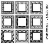vintage frames set with place... | Shutterstock .eps vector #752680480