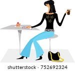 the girl in the cafe | Shutterstock .eps vector #752692324