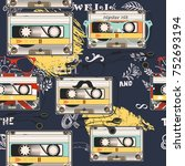 hipster vector background with... | Shutterstock .eps vector #752693194