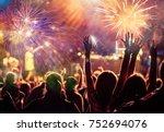 cheering crowd watching... | Shutterstock . vector #752694076